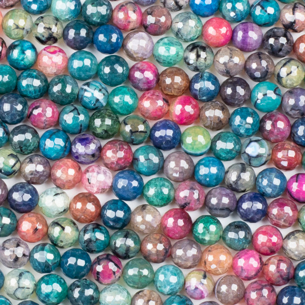 Cracked Agate 8mm Faceted Rounds in a Teal and Pink Mix - 15.5 inch strand