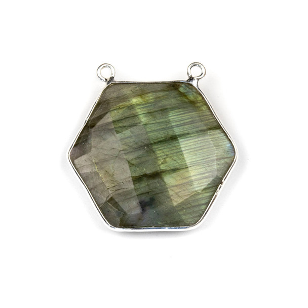 Labradorite 29mm Faceted Hexagon Pendant Drop with a Silver Plated Brass Bezel and 2 Loops - 1 per bag