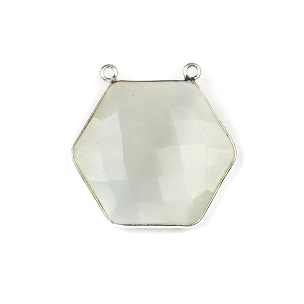Mona Lisa Quartz 29mm Faceted Hexagon Pendant Drop with a Silver Plated Brass Bezel and 2 Loops - 1 per bag