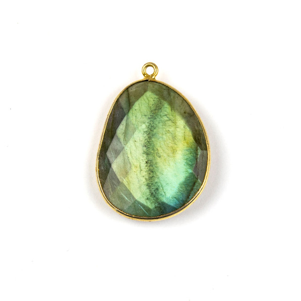 Labradorite 22x30mm Faceted Free Form Drop with a Gold Plated Brass Bezel and Loop - 1 per bag