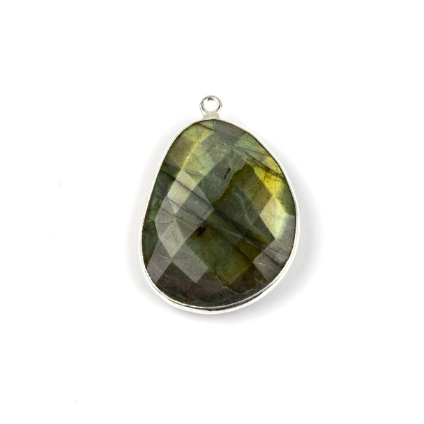 Labradorite 22x30mm Faceted Free Form Drop with a Silver Plated Brass Bezel and Loop - 1 per bag