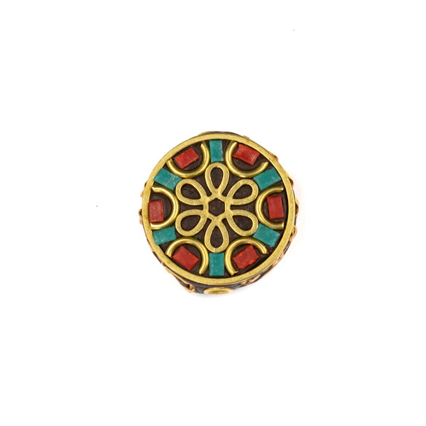 Tibetan Brass 22mm Coin Bead with Flower, Semi Circles, and Red Coral and Turquoise Howlite Inlay - 1 per bag