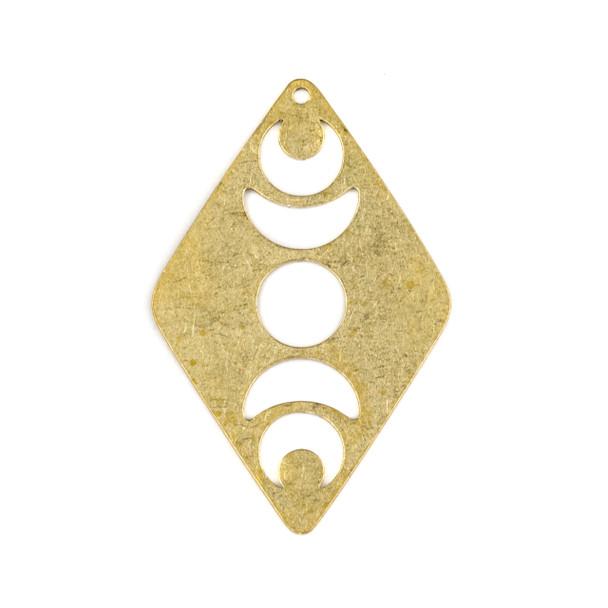 Raw Brass 25x40mm Moon Phase Diamond Shaped Components - 2 per bag - XJ-059