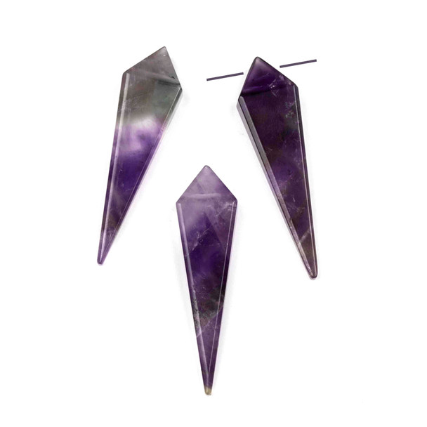 Amethyst 11x44mm Top Drilled Kite Pendant - 1 per bag