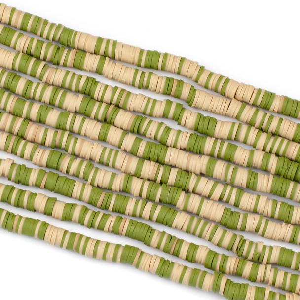 Polymer Clay 1x6mm Heishi Beads - Green & Tan Mix #5, 15 inch strand
