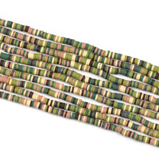 Polymer Clay 1x4mm Heishi Beads - Camoflauge Mix #31, 15 inch strand