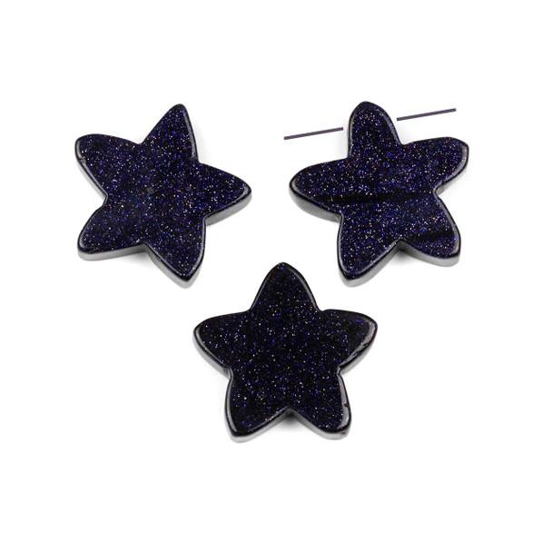 Blue Goldstone 25x26mm Top Drilled Star Pendant - 1 per bag