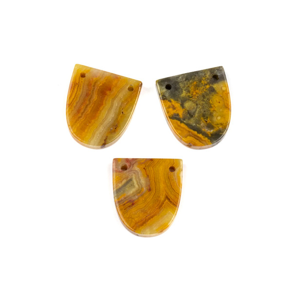 Crazy Lace Agate 18x20mm Top Through Drilled Shield Pendant - 1 per bag