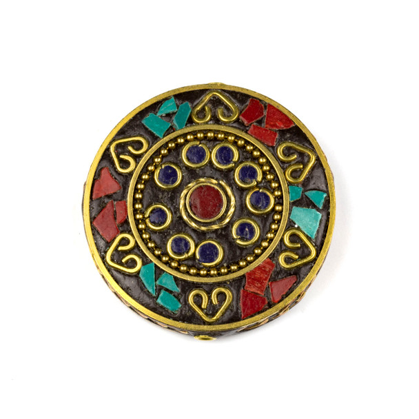 Tibetan Brass 44mm Coin Focal Bead with Hearts, Red Coral, and Turquoise Howlite Inlay - 1 per bag