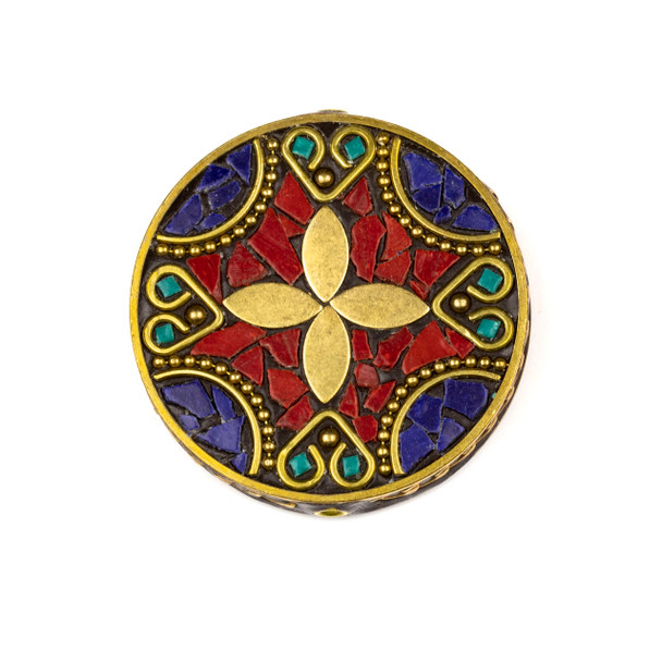 Tibetan Brass 44mm Coin Focal Bead with Pointed Flower, Hearts, Red Coral, and Lapis Inlay - 1 per bag