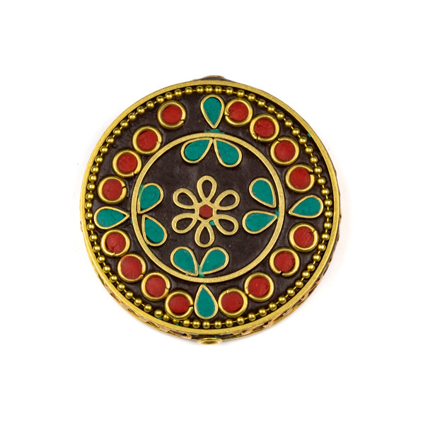 Tibetan Brass 44mm Coin Focal Bead with Flower, Circles, Red Coral, and Turquoise Howlite Inlay - 1 per bag