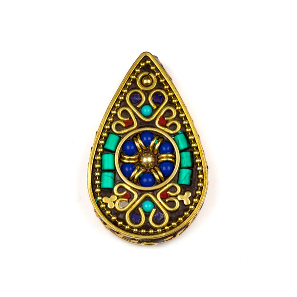 Tibetan Brass 30x49mm Teardrop Focal Bead with Hearts, Turquoise Howlite, and Lapis Inlay - 1 per bag