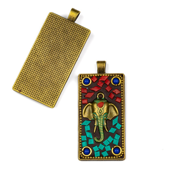 Tibetan Brass 28x61mm Rectangle Pendant with Elephant Head, Red Coral, Turquiose Howlite, and Lapis Inlay - 1 per bag