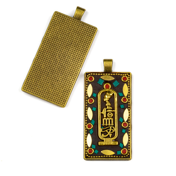 Tibetan Brass 28x61mm Rectangle Pendant with Eye of Horus, Red Coral, and Turquiose Howlite Inlay - 1 per bag