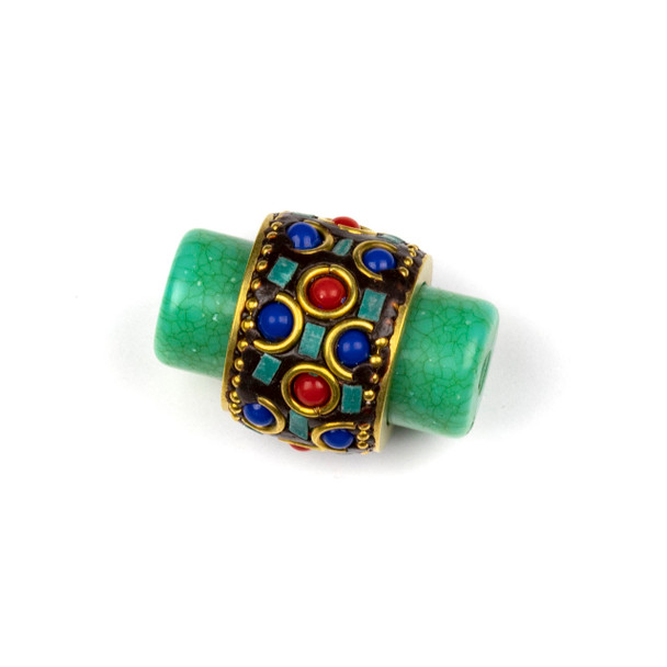 Tibetan Brass 22x33mm Green Tube Focal Bead with Red Coral and Lapis Rounds, Half Circles, and Turquoise Howlite Chip Inlay - 1 per bag