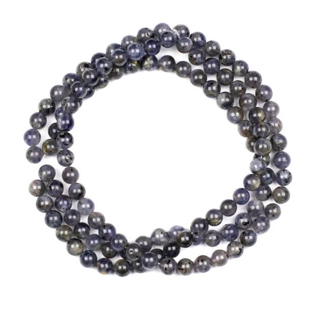 Iolite 6mm Mala Round Beads - 29 inch strand