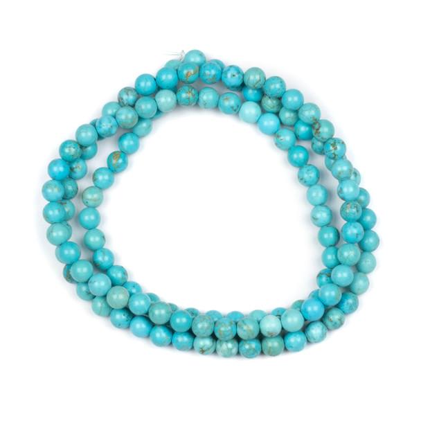 Turquoise Howlite 6mm Mala Round Beads - 29 inch strand