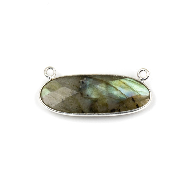 Labradorite 11x30mm Faceted Oval Pendant Drop with with a Silver Plated Brass Bezel and Loops - 1 per bag
