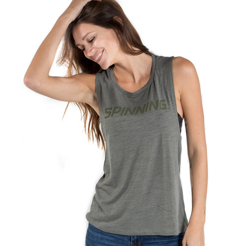 Spinning® Women's Scoop Muscle Tee - Olive Slub
