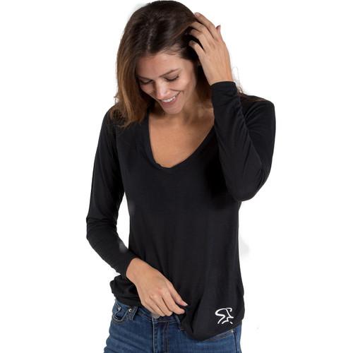 Spinning® Long Sleeve Slinky Jersey V-Neck T-Shirt - Black