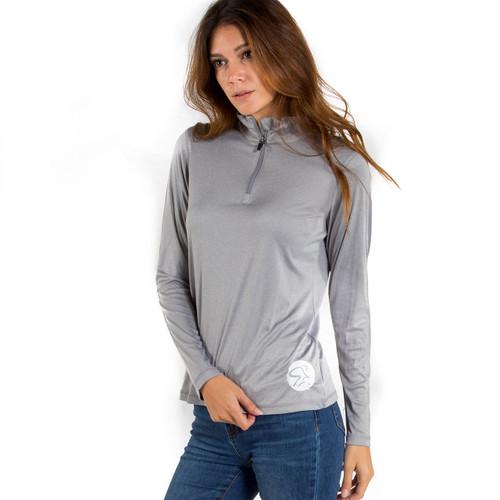 Spinning® Women's 1/4 Zip Lightweight Long Sleeve Shirt - Heather