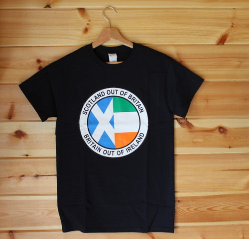 Scotland out of Britain Britain Out of Ireland five colour hand screen printed black t-shirt
