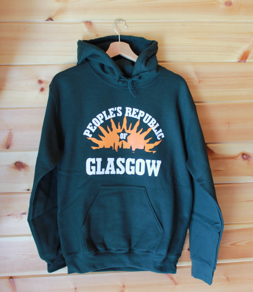 People's Republic of Glasgow bottle green two colour hand screen printed hoody