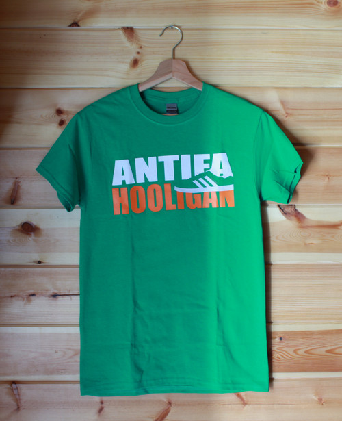 Antifa Hooligan three colour hand screen printed t-shirt