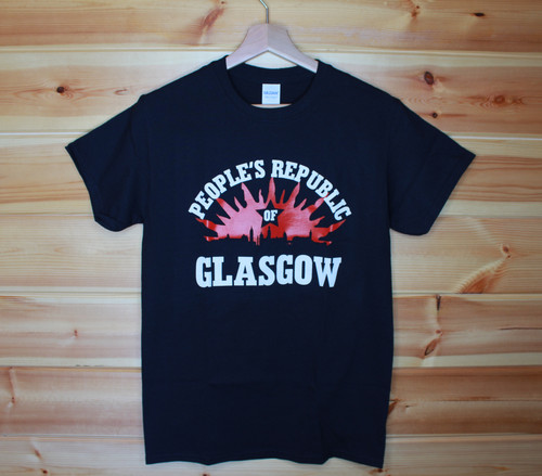 PEOPLE'S REPUBLIC OF GLASGOW BLACK T-SHIRT with a two colour hand screen printed image.