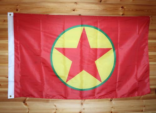 Kurdistan liberation flag (5 x 3)  Polyester with sleeve & grommets.