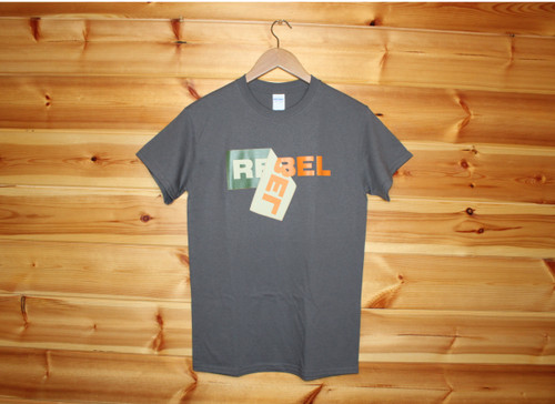 The label say's it all - REBEL!  Charcoal grey t-shirt