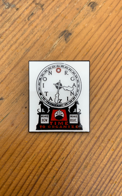 A reproduction of an Industrial Workers of the World 1914 silent agitator (sticker)