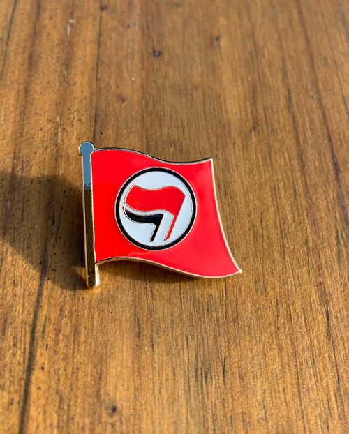Anti-Fascist Flag red enamel badge size 25 mm