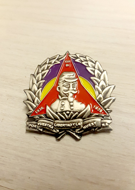 3D Reproduction of the International Brigade badge of the XIII Dabrowski Battalion with Spanish republican flag and red star/logo of International Brigades.