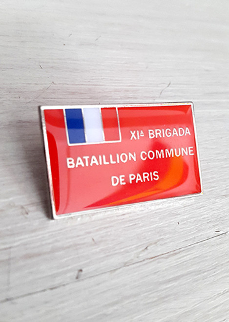 Reproduction of the banner of the French Commune De Paris battalion, International Brigade.