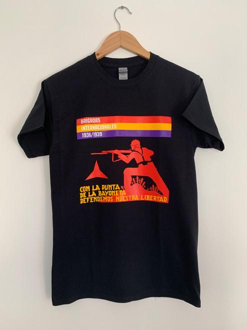 International Brigade black t-shirt four colour print