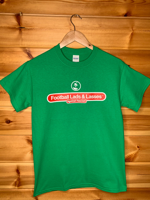 Subbuteo Cantona style Football Lads & Lasses Against Fascism (FLAF) two colour hand screen printed green t-shirt