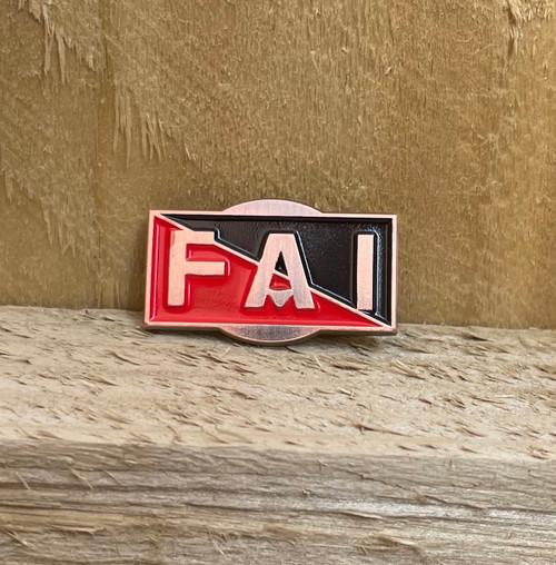 FAI (Federación Anarquista Ibérica/Iberian Anarchist Federation) antique red copper badge