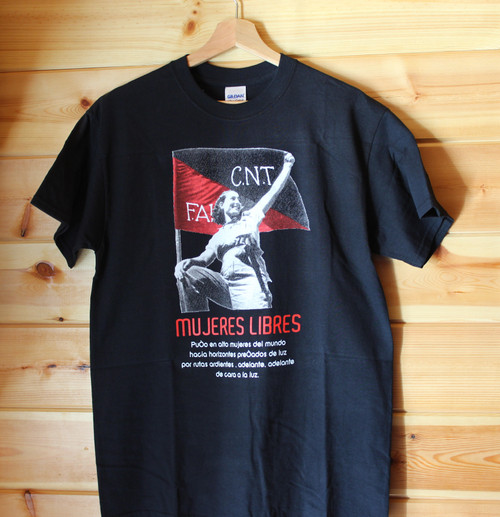 Mujeres Libres (FREE WOMEN) CNT/FAI two colour hand screen printed black t-shirt.