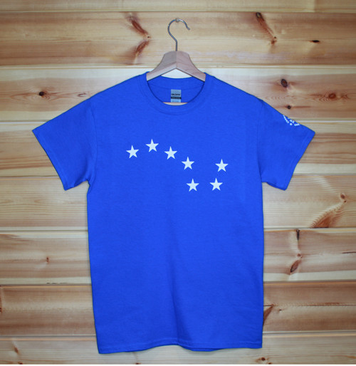 Blue Starry Plough one colour front and back screen printed t-shirt.