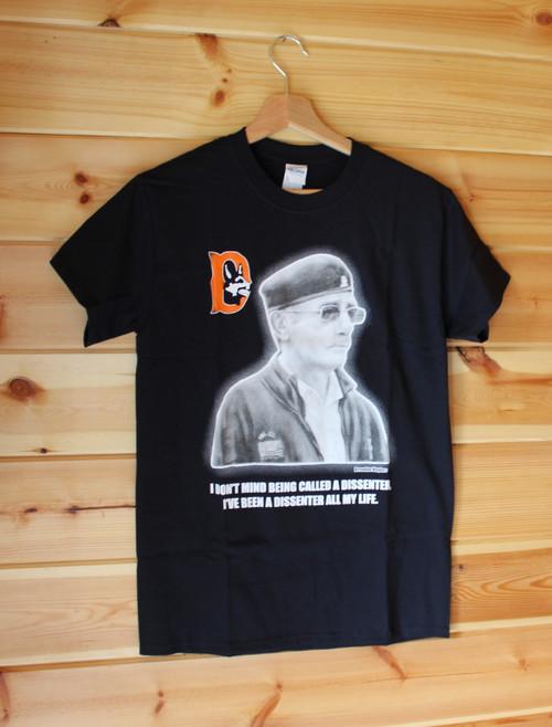 Volunteer Brendan Hughes three colour hand screen printed black t-shirt