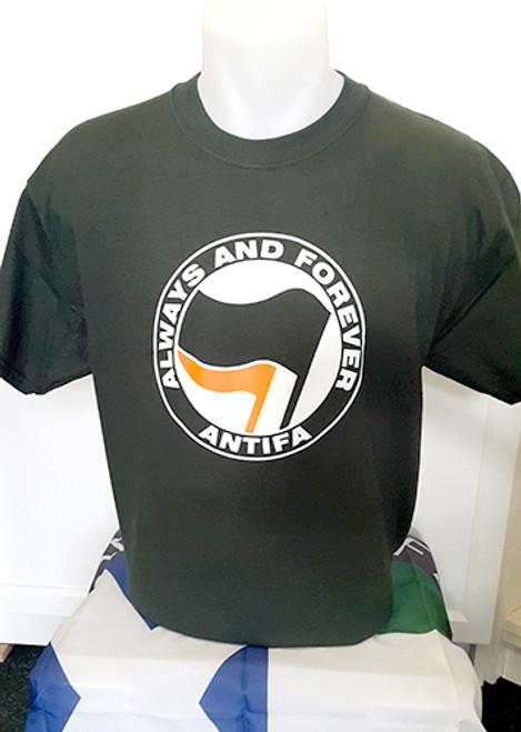 ANTIFA (green) Always and Forever Anti-Fascist T-shirt