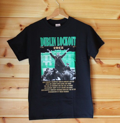 This is a three colour hand screen printed black gildan t-shirt with the image of Jim Larkin and the equally famous Liberty Hall in the background.