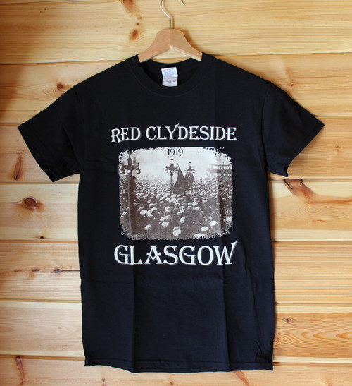Red Clydeside, Glasgow 1919 two colour hand screen printed black t-shirt with the image of a portion of the crowd in George Square with the red flag being raised.
