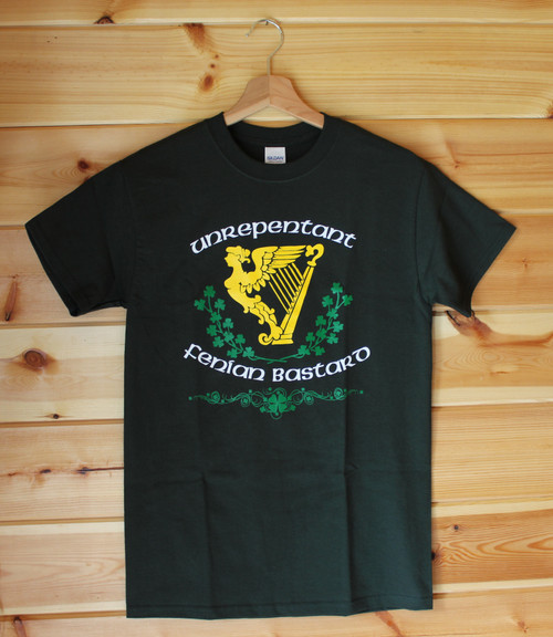 'Unrepentant Fenian Bastard' a three colour hand screen printed image on a bottle green.