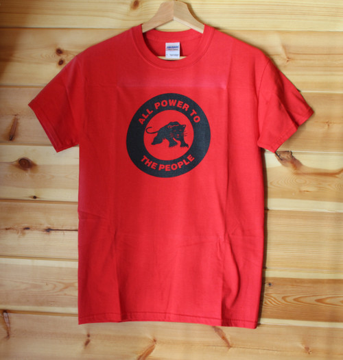 Black Panther Party - ALL POWER TO THE PEOPLE one colour hand screen printed red t-shirt