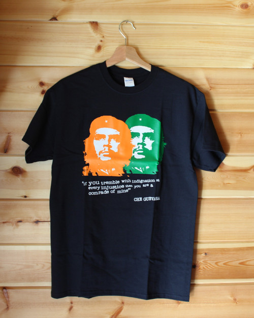 Che Guevara three colour hand screen printed black t-shirt