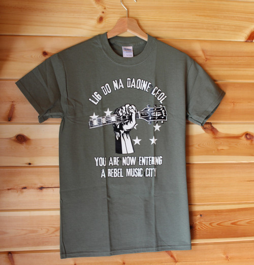 LIG DO NA DA0INE CEOL (Let The People Sing) two colour hand screen printed khaki shirt with Starry Plough stars clenched fist with 'rebel' guitar and the text YOU ARE NOW ENTERING A REBEL MUSIC CITY.
