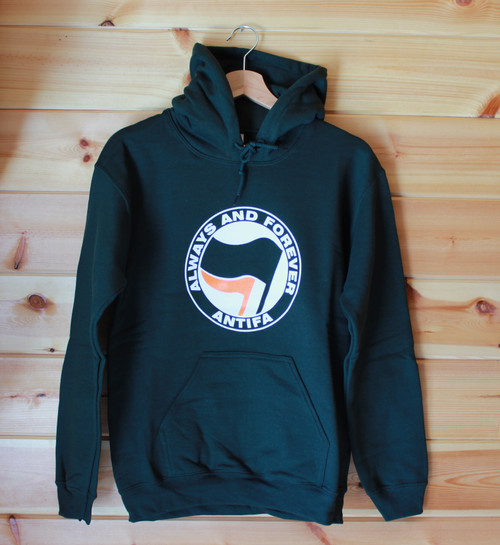 ANTIFA - Always and Forever - two colour hand screen printed bottle green hoody