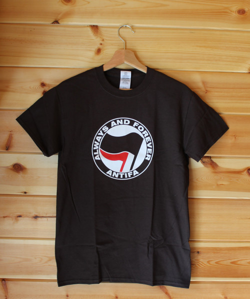ANTIFA (brown) Always and Forever two colour hand screen printed Anti-Fascist T-shirt